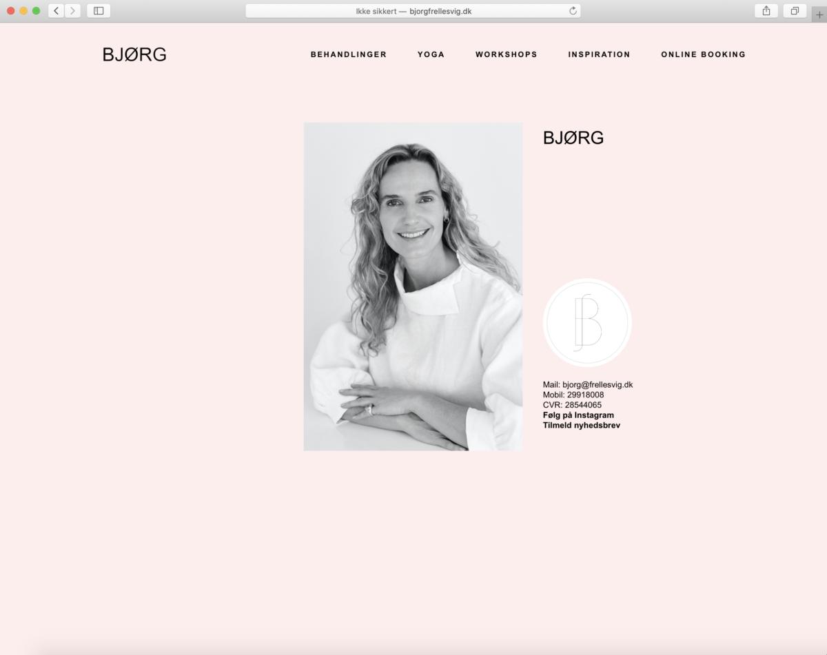 Hjemmeside for Bjørg Frellesvig - af Koncept Kommunikation